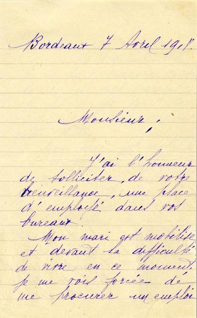 Demande d'emploi de Jeanne C., Crédit commercial de France, 1918. Source : HSBC France, Archives historiques.