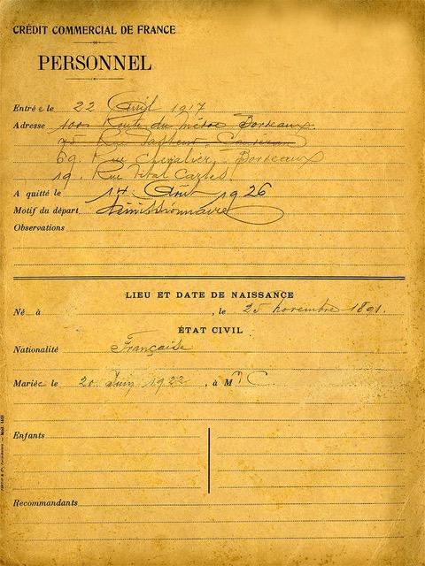 dossier de carrière de Jeanne C., Crédit commercial de France, 1918. Source : HSBC France, Archives historiques.
