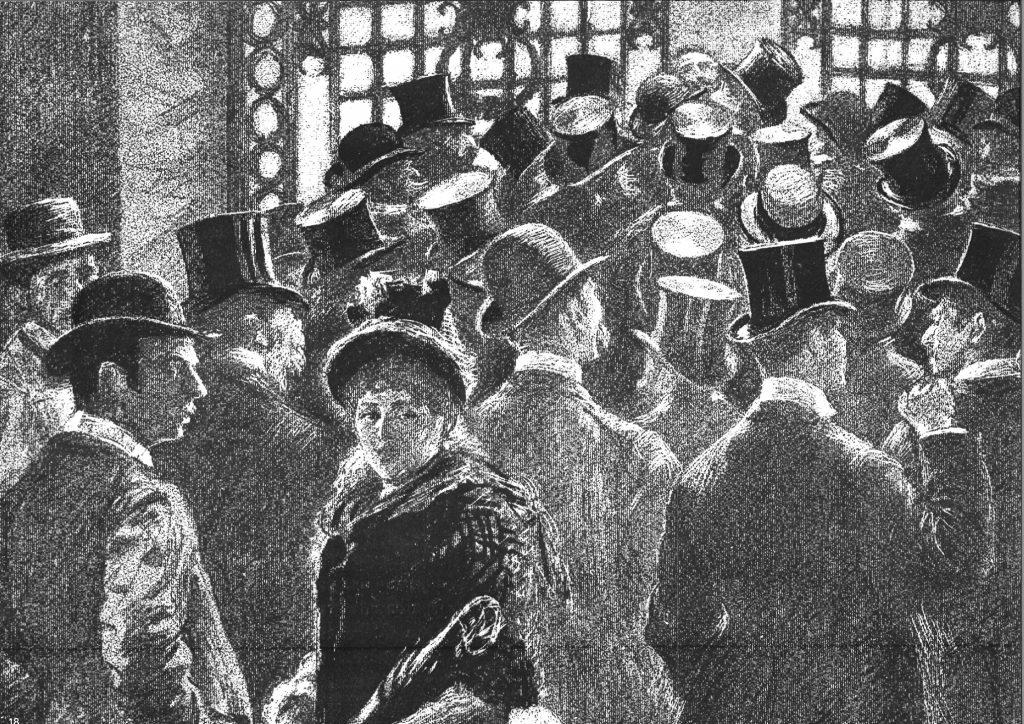 « petite bourse du soir 1882 » (la petite bourse est la « coulisses », en marge des activités qui ont lieu dans la « Corbeille »); Illustration issue de l'ouvrage publié à l'occasion des 125 ans du Crédit Lyonnais.