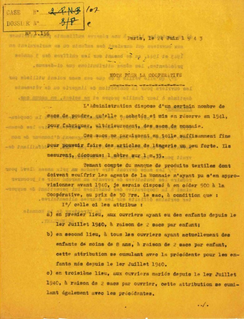 Note aux responsables de la Coopérative de consommation du personnel de la Direction des monnaies et médailles, 24 juin 1943. MEF-MACP, service des Archives économiques et financières