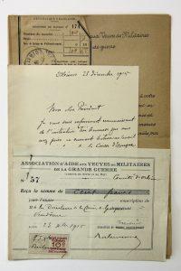 Don de la Caisse d'épargne de Vendôme à l'Association d'aide aux veuves de militaires de la Grande Guerre, 1915.
