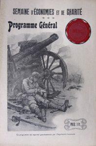 Programme général de la Semaine d'économies et de charité, illustré par A. Barbier, s.d [1917] Fédération nationale des Caisses d'Epargne, Archives historiques.