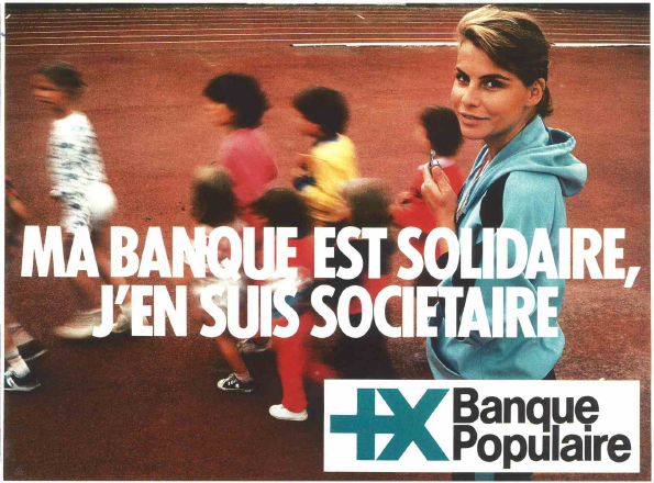 Campagne publicitaire de 1978 qui a contribué à populariser la marque et le logo de la Banque Populaire. Conception : Service Agence PPRP. Fonds d'archives Banque Populaire