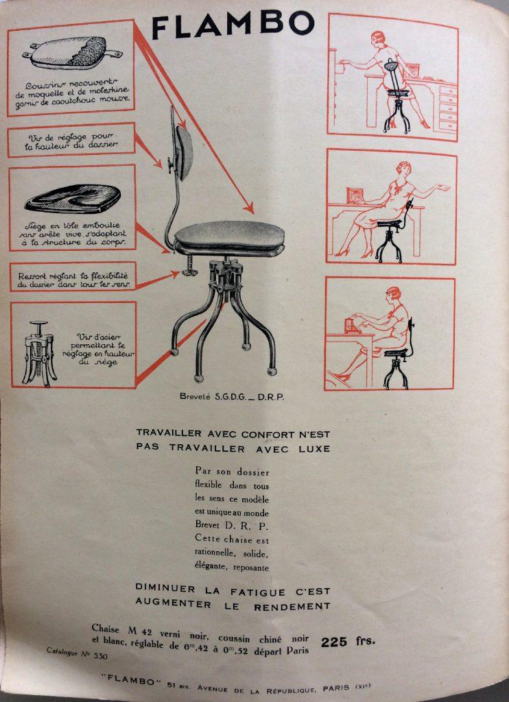 Publicité pour le siège Flambo, Revue Banque, 1929. Archives historiques BNP Paribas.