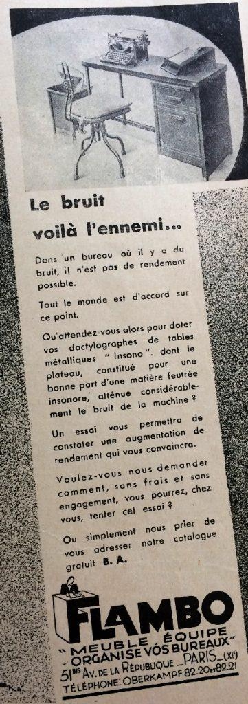 « Le bruit, voilà l'ennemi ». Flambo développe un mobilier visant à améliorer les conditions de travail des employés de bureau et leur efficacité au travail, Revue Banque, 1935. BNP Paribas, Archives historiques.