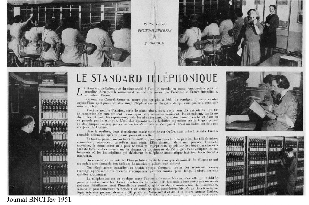 Le standard téléphonique, journal de la BNCI, 1951. BNP Paribas, Archives historiques.