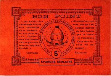 Bon point épargne à coller sur un album. Fédération nationale des Caisses d'épargne, documentation.