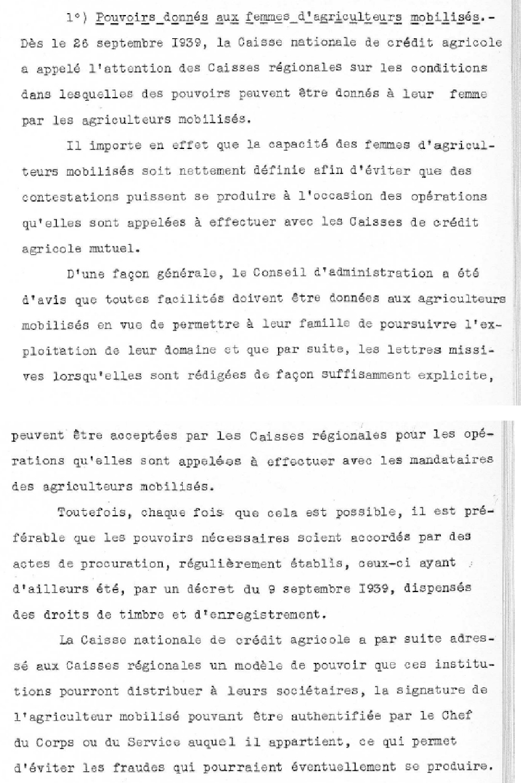 Procès-verbal de séance de la Commission plénière du Crédit agricole du 28 décembre 1939, résolution concernant les pouvoirs donnés aux femmes d'agriculteurs mobilisés. Crédit Agricole S.A., Archives historiques.