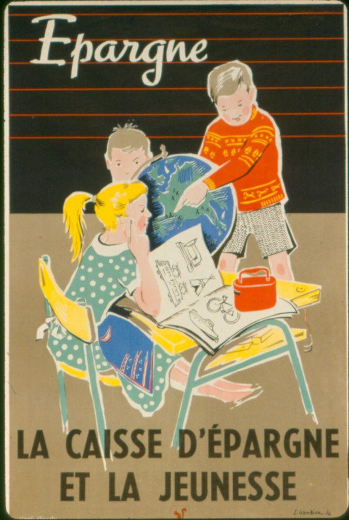 Buvard publicitaire réalisé dans le cadre de l'épargne scolaire. Début des années 1970. Archives historiques de la Caisse d'Epargne de Picardie.
