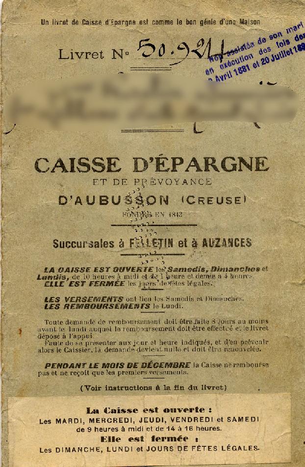 Livret de femme non assistée. Source : Fédération nationale des Caisses d'Épargne, archives historiques.