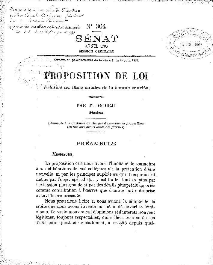 Proposition de loi relative au libre salaire de la femme mariée, présentée le 26 juin 1906 par M. GOURJU, sénateur. MEF-MACP, Service des archives économiques et financières.