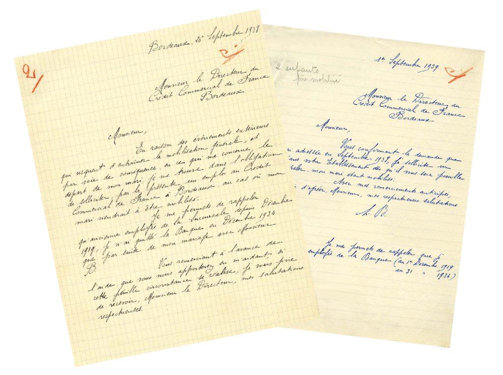 Lettres de Madame B. au directeur du Crédit commercial de France à Bordeaux du 26 septembre 1938 et du 1er septembre 1939. HSBC France, Archives historiques.