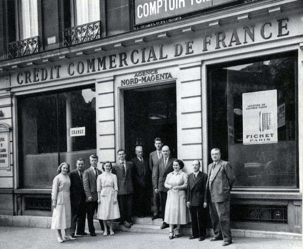 Les employés de l'agence Nord-Magenta à Paris, années 1950. HSBC France, Archives historiques.