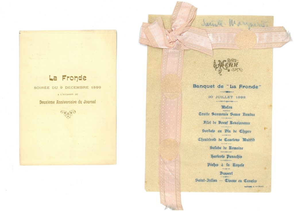 Programme de la soirée du 9 décembre 1899, deuxième anniversaire du journal et menu du banquet du 20 juillet 1898 offert pour sa fête à Marguerite Durand le 20 juillet 1898