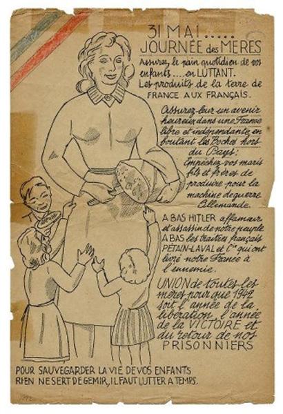 Tract de la fête des mères 1942. Musée de la résistance, Champigny.