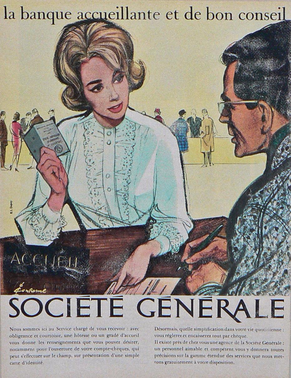 Campagne publicitaire dessinée par Pierre Couronne pour la Société Générale en 1963. © Pierre Couronne. Archives historiques Société Générale