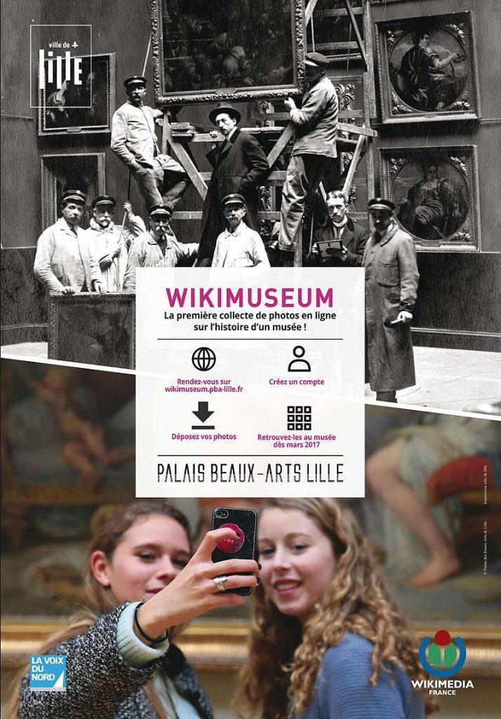 Visuel de communication du projet WikiMuseum lancé par le Palais des Beaux-Arts de Lille en septembre 2016, composé à partir de 2 photos d'archives, la première datant de 1920 et la seconde de 2015. Crédits : PBA Lille © Conception: Claire Masset