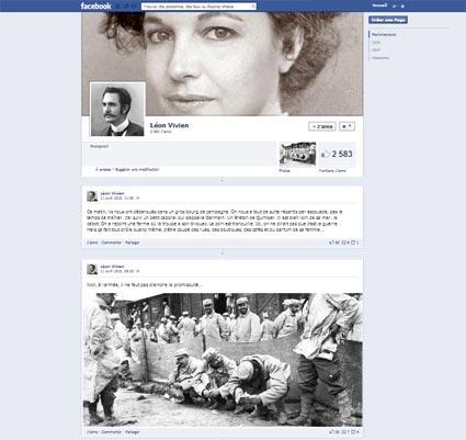 Capture d'écran de la page Facebook de Léon Vivien, soldat de la guerre de 14-18.