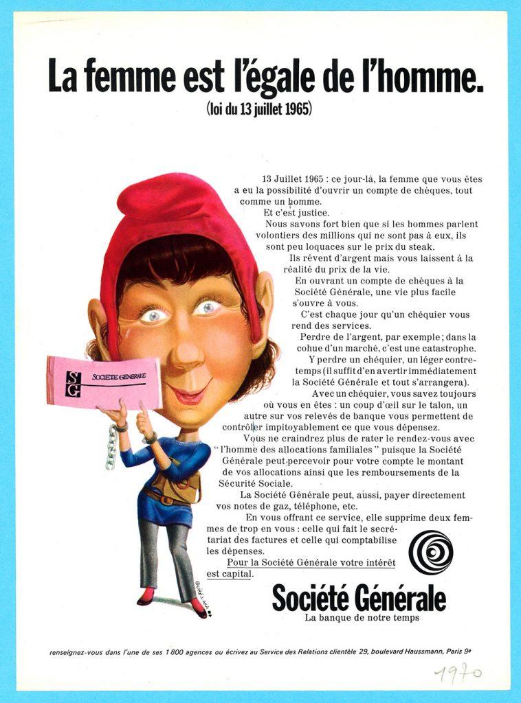 Annonce publicitaire de la Société Générale, parue dans la presse en 1970. Illustration de Michel Guiré-Vaka, logo signé Noël Pasquier