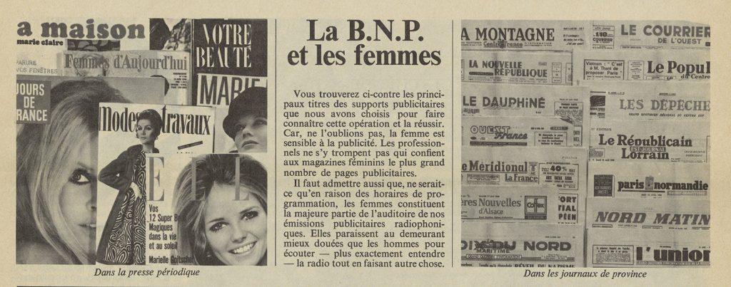 Autour du magazine « La BNP et les femmes », extraits de Dialogue, journal interne de la BNP, 1968. BNP Paribas, archives historiques. BNP Paribas, archives historiques.