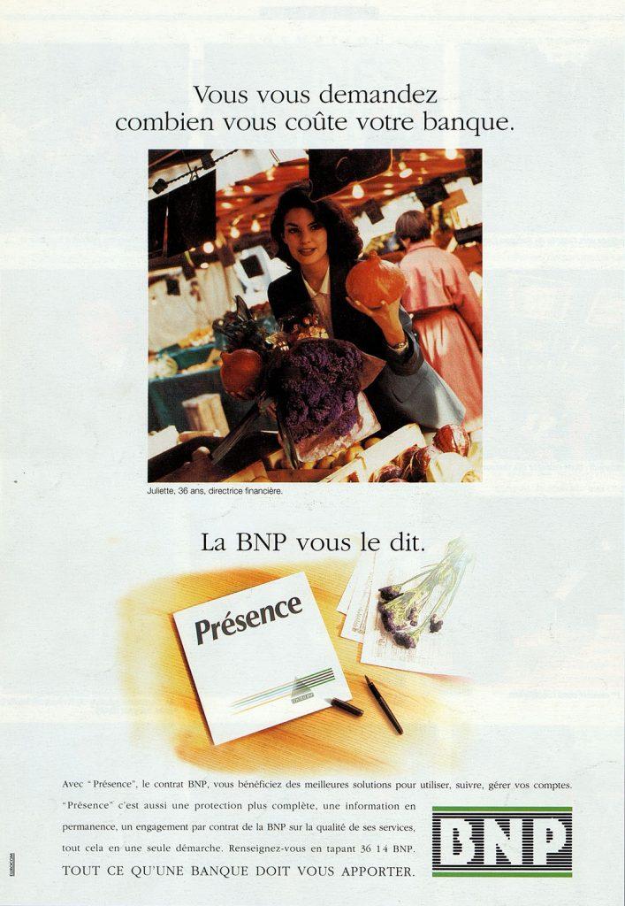 Publicité pour l'offre de service Présence, BNP, 1992. BNP Paribas, archives historiques.