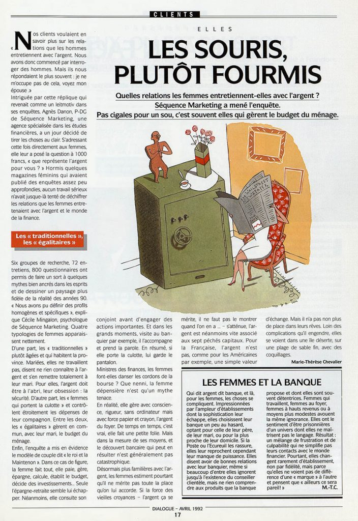 Article consacré à l'enquête sur les femmes et l'argent, Dialogue, journal interne de la BNP, 1992. Archives historiques BNP Paribas
