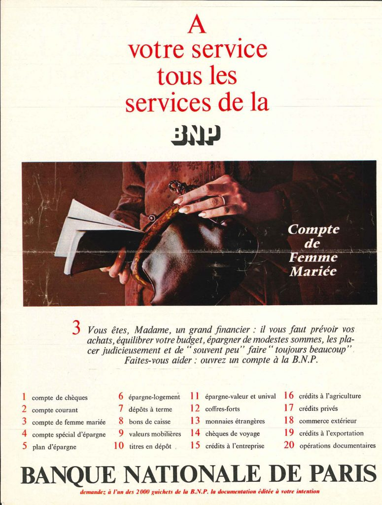 Campagne de publicité dans la presse magazine « Compte de femme mariée », BNP, 1967. BNP Paribas, archives historiques.