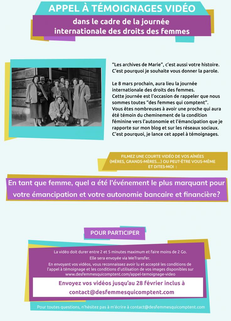 Appel à témoignage vidéo (dans le cadre de la journée internationale des droits des femmes)