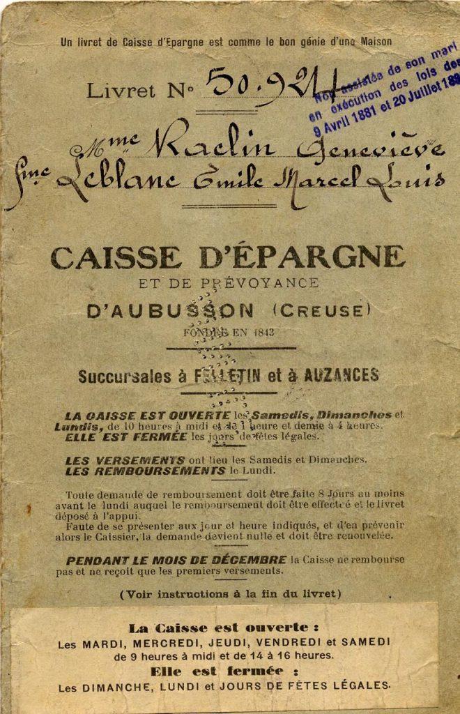 Livret de femme non assistée de son mari, fin du XIXe siècle. Archives de la Caisse d'Epargne d'Auvergne et du Limousin.