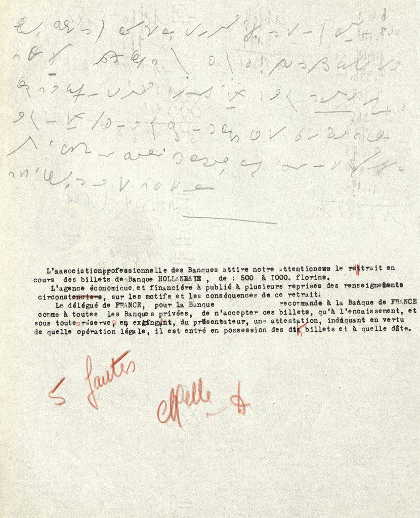Test d'entrée à l'embauche d'une sténo-dactylographe. 1945. HSBC France, Archives historiques.