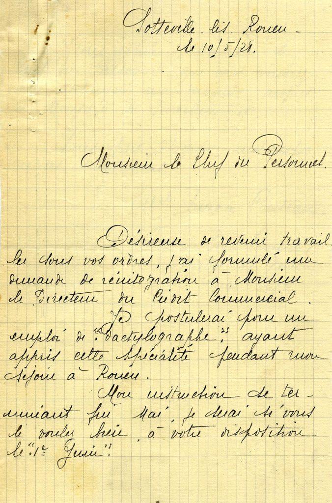 Lettre d'une employée s'étant formée à la dactylographie à l'occasion d'un congé, 1928. HSBC France, Archives historiques.