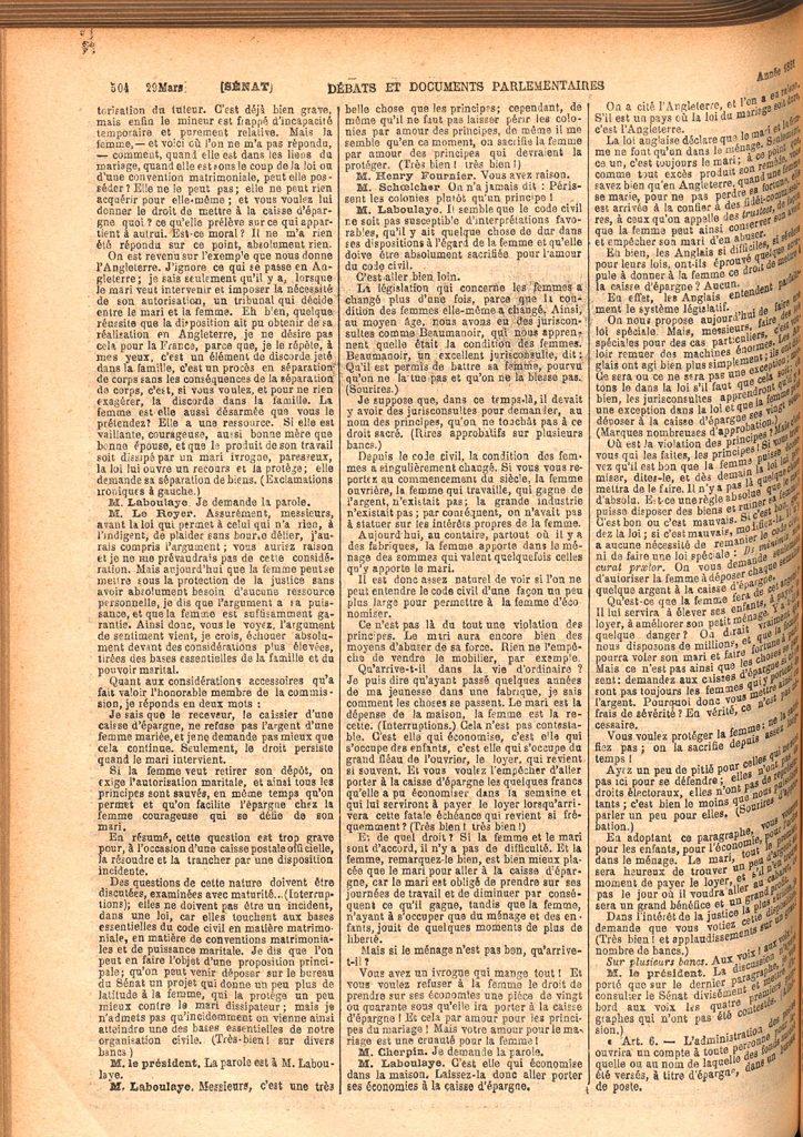 Journal officiel de la République française. Débats parlementaires. Sénat (1880). Source gallica.bnf.fr / Bibliothèque nationale de France