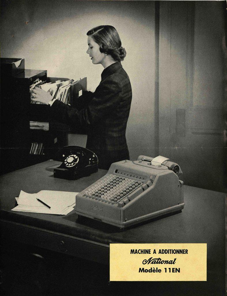 Publicités pour la machine à additionner National, années 1940.