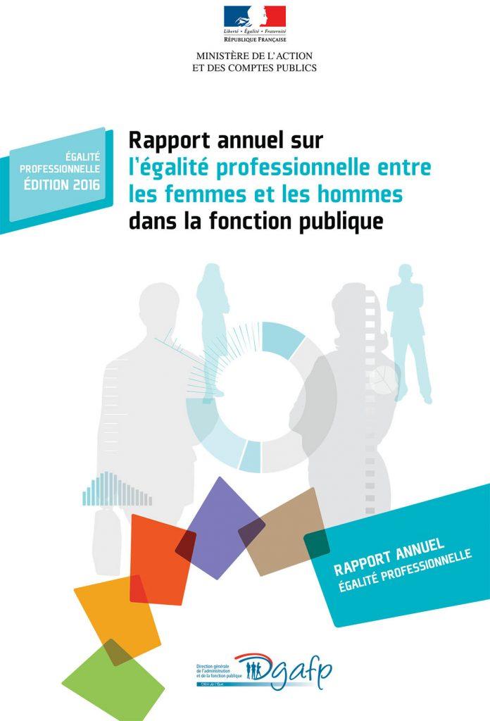 Couverture du rapport annuel sur l'égalité professionnelle, Direction générale de l'administration et de la fonction publique, édition 2016.